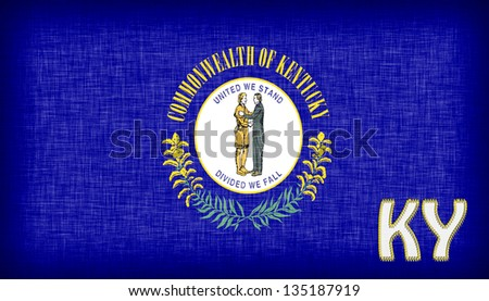 Linen Flag Of The US State Kentucky With Its Abbreviation Stitched On It