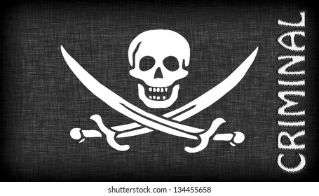 Linen pirate flag with letters stitched on it