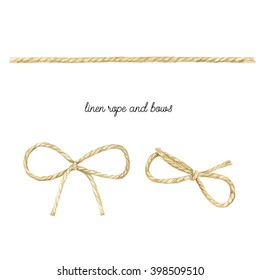 Linen rope and bow watercolor. Jute rope with bow watercolor. Twine. Hand drawn watercolor illustration on  white background