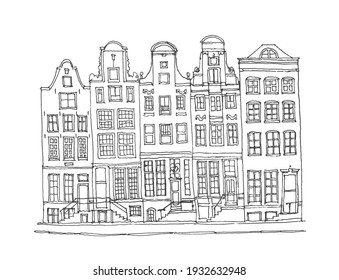 Liner sketches architecture of Amsterdam, Holland, hand drawing sketch, graphic illustration. Urban sketch in black color isolated on white background. Hand drawn travel postcard. Travel sketch.