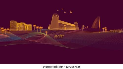 lines arts design, digital illustration, colorful line arts, saudi heritage site, saudi landmark, line graphics illustration, fine line graphics art, fine art