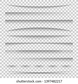Lines shadow. Paper divider tabs web lines break frame realistic shadows template side bar edge box pack, set