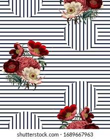 Lining Botanical  Flower  Pattren Design