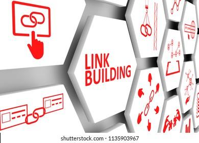 LINK BUILDING concept cell background 3d illustration