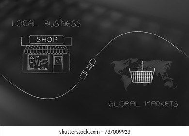 linking local businesses and global markets conceptual illustration: shop and world map with shopping basket with plug in between