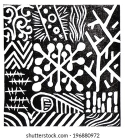 Linocut print abstract background