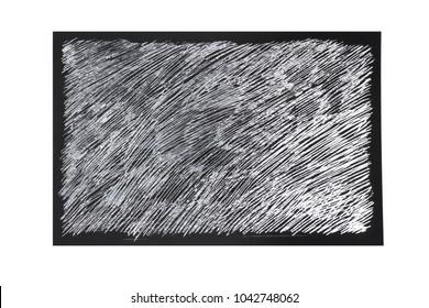 linocut strokes on the foil in the black frame