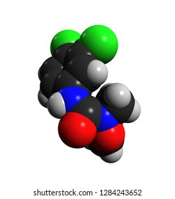 Linuron, a phenylurea herbicide used to control the growth of crops like soybeans; 3D rendering