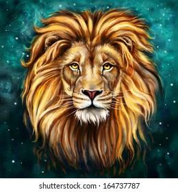 lion Aslan digital painting/ lion Aslan