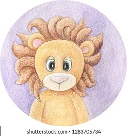 Lion cartoon hand drawn illustration. Watercolor and pencils art