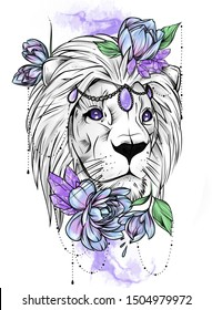 Lion, flowers, tattoo, crystal, art, neotraditional