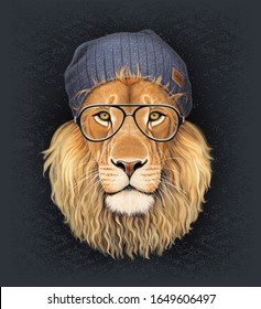 Lion with glasses and hat