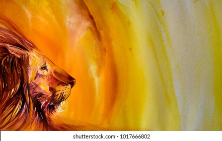A Lion hand painted watercolor illustration  on yellow background.