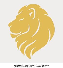 Lion head logo royal cat profile Golden luxury emblem