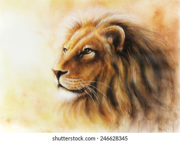 lion head with a majesticaly peaceful expression Airbrush paintig on paper