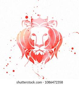 Lion Head Water Color Illustration