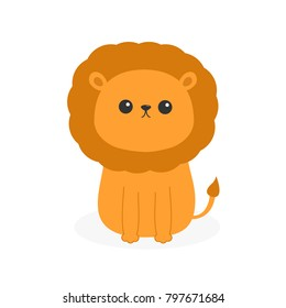 Lion icon. Cute cartoon funny character. Baby animal collection. Childish print for nursery, kids apparel, poster, postcard. Jungle cat. Flat design. White background Isolated.