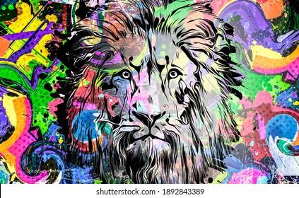 lion illustration with colorful splashes