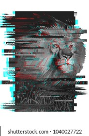 lion illustration with glitch effect. for fashion print, poster for textiles, fashion design, T-shirt graphics design.