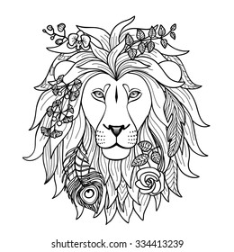 Lion. Illustration for textile prints, tattoo, zodiac signs web and graphic design