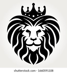 Lion king black and white with crown