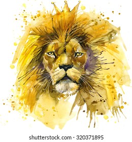 Lion King. watercolor illustration. african animals. exotic nature. wildlife.