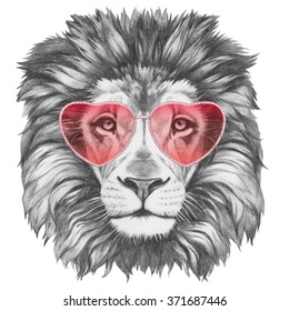 Lion in Love! Portrait of Lion with heart shaped sunglasses. Hand drawn illustration.