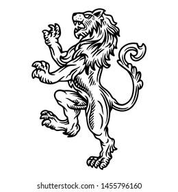 Lion rampant family crest logo of coat