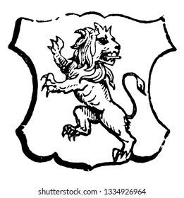 Lion Rampant Regardant is an animal looking towards the sinister side of the shield, vintage line drawing or engraving illustration.