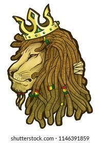 Lion rasta symbol cartoon