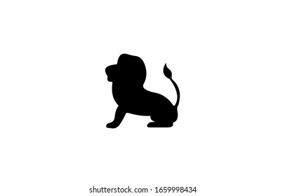 lion silhouette icon flat design template