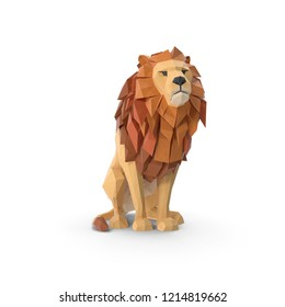 Lion sitting Low Poly isolated. 3D illustration