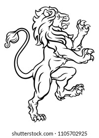A lion standing rampant from a heraldic crest or coat of arms