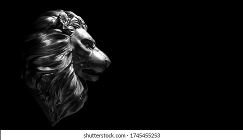 Lion statue, a stone sculpture. Concept of a guard, power and proud animal. 3D illustration