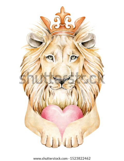 Lion Watercolor Illustration Realistic Lion Crown Stock Illustration 1523822462 Download crown cartoon stock vectors. https www shutterstock com image illustration lion watercolor illustration realistic crown heart 1523822462