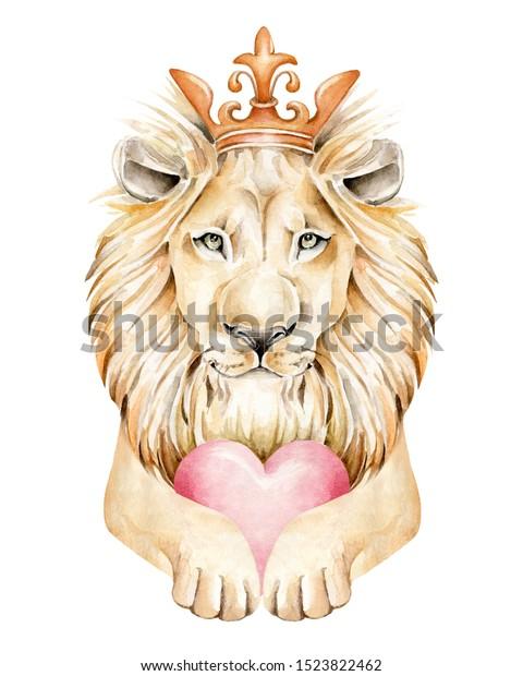 Lion Watercolor Illustration Realistic Lion Crown Stock Illustration 1523822462 Download crown cartoon stock vectors. https www shutterstock com image illustration lion watercolor illustration realistic crown heart 1523822462