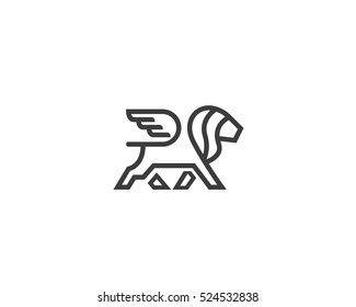 Lion with wings logo design template. Linear premium logotype