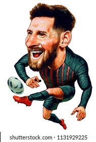 Lionel Andres Messi Cuccittini is an Argentine professional footballer who plays as a forward for Spanish club Barcelona. Illustration Design,Caricature,July,11,2018