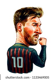 Lionel Andrés Messi Cuccittini is an Argentine professional footballer who plays as a forward for Spanish club Barcelona. Illustration,Caricature,Design,July,13,2018