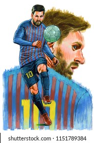 Lionel Andrés Messi Cuccittini is an Argentine professional footballer who plays as a forward for Spanish club Barcelona and the Argentine national team. Illustration,Caricature,Design,August,08,2018