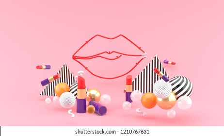 Lip light middle of a lipstick and colorful balls on a pink background.-3d rendering.