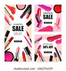 Lip makeup accessoires 2 realistic sale banners with lipstick gloss balm liner radiant colors isolated  illustration