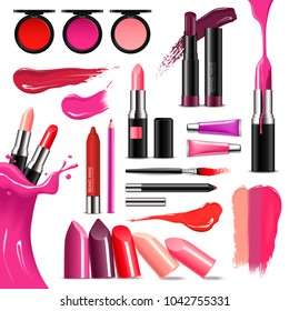 Lip makeup beauty accessoires realistic collection with lipstick gloss balm liner high-shine intense colors  illustration