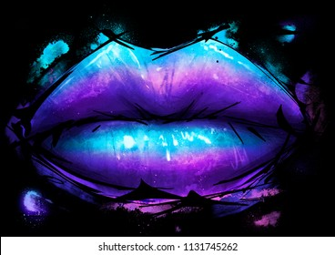 Lips in artistic colored paint style