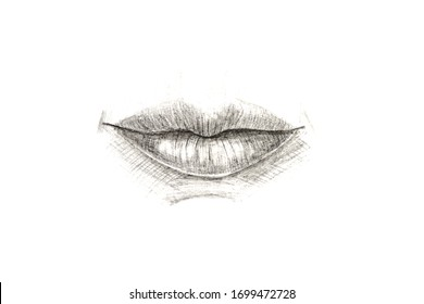 Lips closeup on white background drawn with pencil.