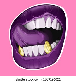 Lips and gold teeth.Art picture.