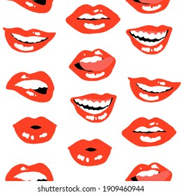 Lips and mouths colorful graphic illustration print pattern