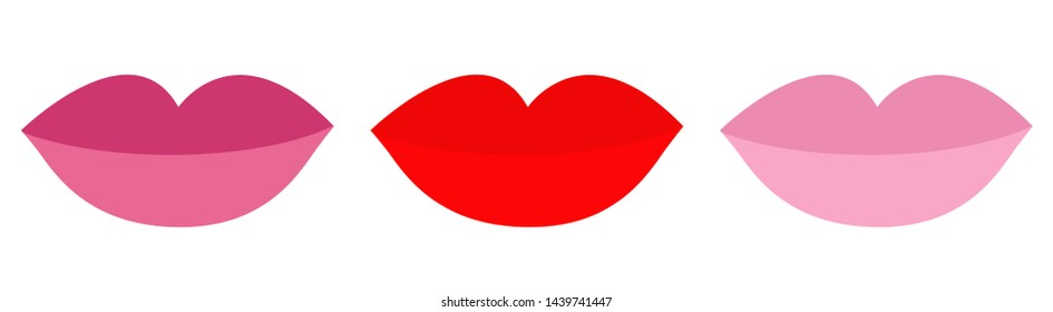 Lips with red, rose, nude lipstick rouge set line. Flat design. White background. Isolated.