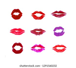 Lips set of nine different types of multicolor lipstick marks isolated on white background. Lipstick swatches.