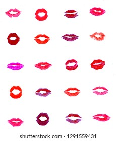 Lips set of twenty different types of multicolor lipstick marks isolated on white background. Lipstick swatches.
